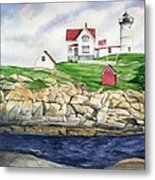 Maine Lighthouse Watercolor Metal Print