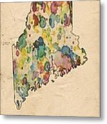 Maine Map Vintage Watercolor Metal Print