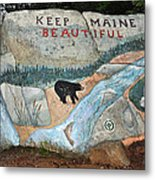Maine Rock Painting Metal Print