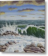 Crashing Waves At Pemaquid Point Maine Metal Print