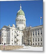Maine State Capitol Building In Winter Augusta Metal Print