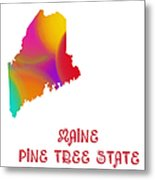 Maine State Map Collection 2 Metal Print