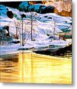 Maine Winter Along The Androscoggin River Metal Print