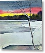 Maine Winter Sunset Metal Print