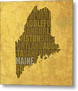 Maine Word Art State Map On Canvas Metal Print
