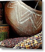 Pottery And Maize Indian Corn Still Life In New Orleans Louisiana Metal Print