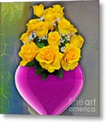 Majenta Heart Vase With Yellow Roses Metal Print