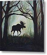 Majestic Bull Moose Metal Print by Leslie Allen