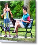 Making A New Friend In The Park Metal Print