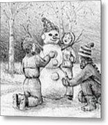 Making A Snowman Metal Print