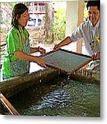 Making Paper Using Mulberry Tree Pulp At Boring Paper Factory In Chiand Mai-thailand Metal Print