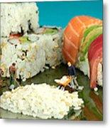 Making Sushi Little People On Food Metal Print by Paul Ge