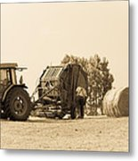 Farm - Tractor - Hay - Making The Drop Metal Print
