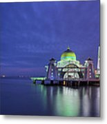 Malacca Straits Mosque At Blue Hour Metal Print
