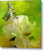 Malachite On Peony Metal Print