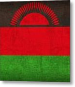 Malawi Flag Vintage Distressed Finish Metal Print