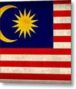 Malaysia Flag Vintage Distressed Finish Metal Print
