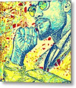 Malcolm X Drawing In Lines Metal Print