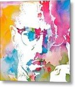 Malcolm X Watercolor Metal Print