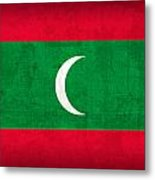 Maldives Flag Vintage Distressed Finish Metal Print