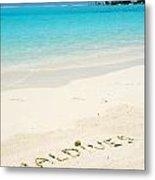 Maldives Written In A Sandy Tropical Beach Metal Print