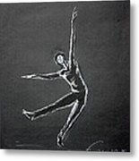 Male Dancer In White Lines On Black Metal Print