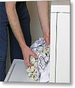 Male Doing Laundry Metal Print