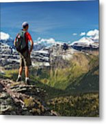 Male Hiker Standing On Top Of Mountain Metal Print