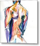 Male Nude Back Torso Metal Print