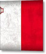Malta Flag Vintage Distressed Finish Metal Print