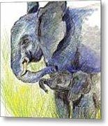 Mama Elephant And Calf Metal Print