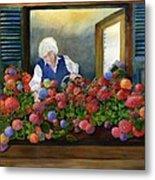 Mama's Window Garden Metal Print
