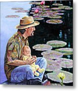Man And Child In The Garden Metal Print