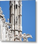 Man And Dragon Gargoyles With Tower Duomo Di Milano Italia Metal Print