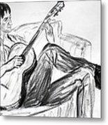 Man And Guitar Metal Print