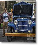 Man And His Jeep Metal Print