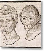Man And Monkey's Head Metal Print