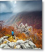Man And The Mountain Metal Print by Evgeni Dinev