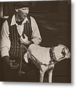 Man And White Dog In New Orleans Metal Print