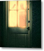 Man At Door With Cleaver Metal Print