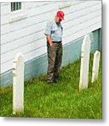 Man At Headstone Metal Print