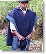 Man At Otavalo Animal Market Ecuador Metal Print