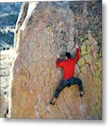 Man Bouldering On An Overhang Metal Print