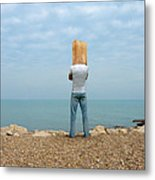 Man By The Sea With Bag On His Head Metal Print