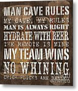 Man Cave Rules Square Metal Print