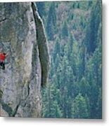 Man Climbing On A Big Granite Spire Metal Print