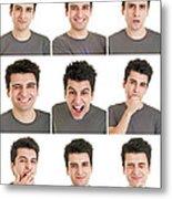 Man Face Expressions Metal Print