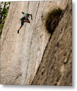 Man Falls While Climbing A Crack Route Metal Print