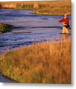 Man Fly Fishing On The Owens River Metal Print