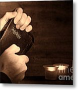 Man Hands And Bible Metal Print